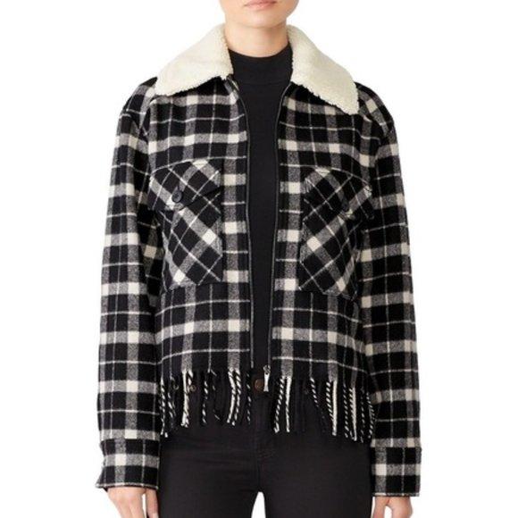Kate Spade New York Rustic Plaid Coat in black